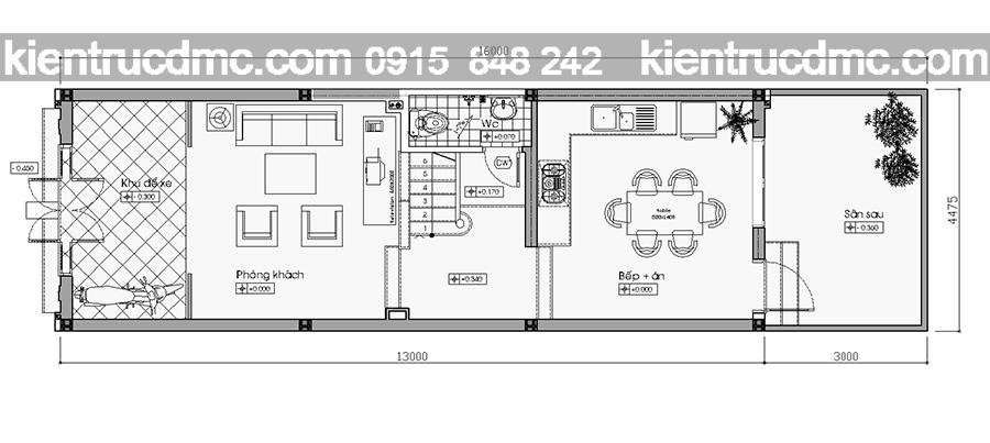 Tầng 1 tư vấn thiết kế nhà phố 4 tầng hiện đại
