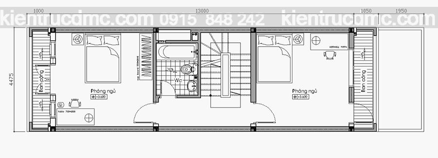 Tầng 2 Tư vấn thiết kế nhà phố 4 hiện đại