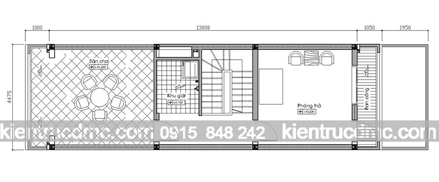 Tầng 3 Tư vấn thiết kế nhà phố 4 hiện đại