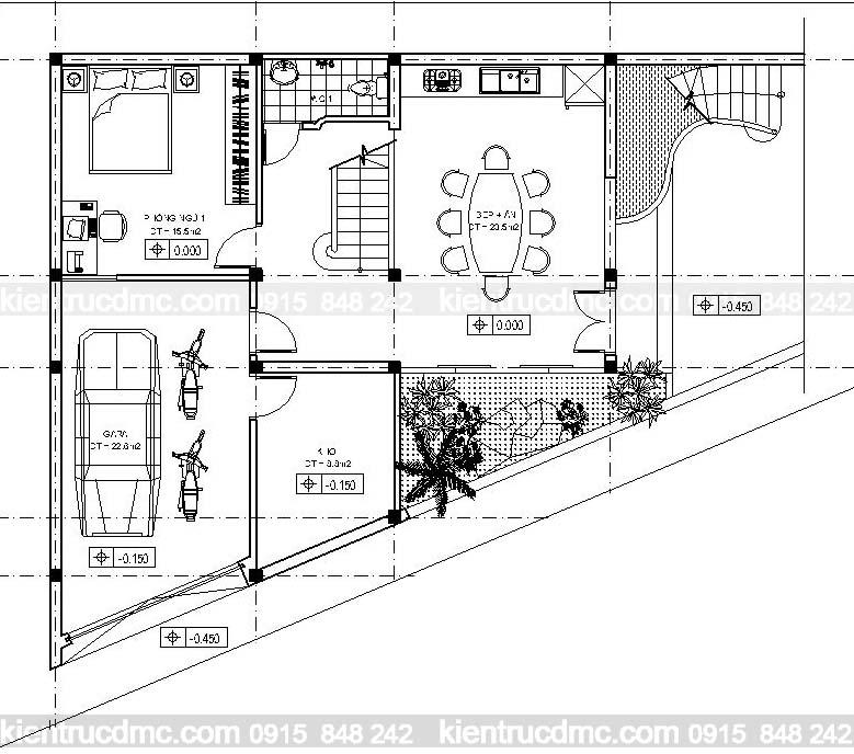 Thiết kế nhà đẹp, thiết kế Biệt thự mini 3 tầng trên đất hình thang