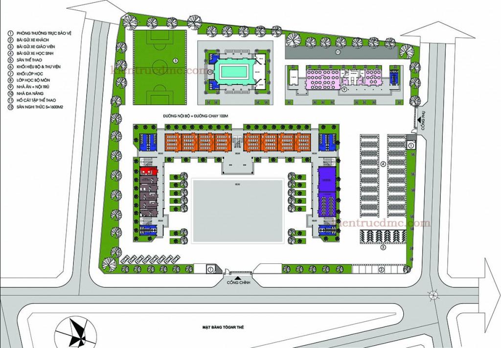 Thiết kế kiến trúc, Thiết kế trường học, Trường THCS Đình Bảng