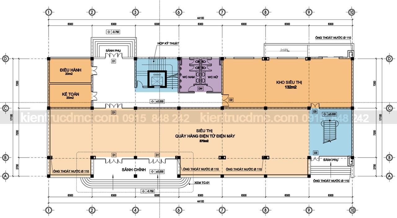 Mặt bằng tầng 1 - Thiết kế trung tâm thương mại Minh Ngọc