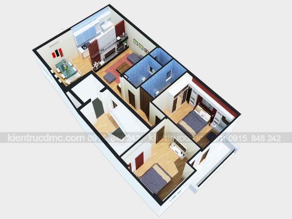 Phối cảnh tổng thể căn hộ - Thiết kế nội thất chung cư mini 8 tầng