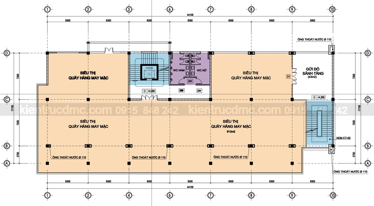 Mặt bằng tầng 2 - Thiết kế trung tâm thương mại Minh Ngọc