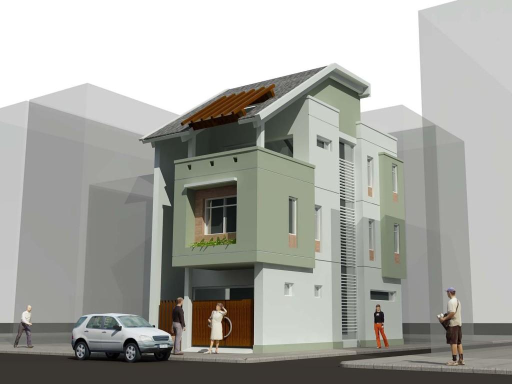 Mẫu nhà phố hai mạt tiền 3 tầng