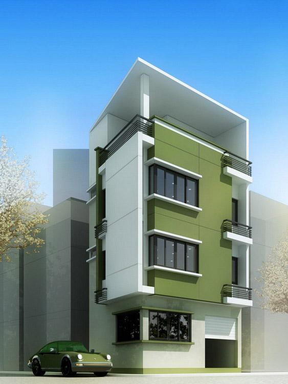 Mẫu nhà phố hai mạt tiền 4 tầng