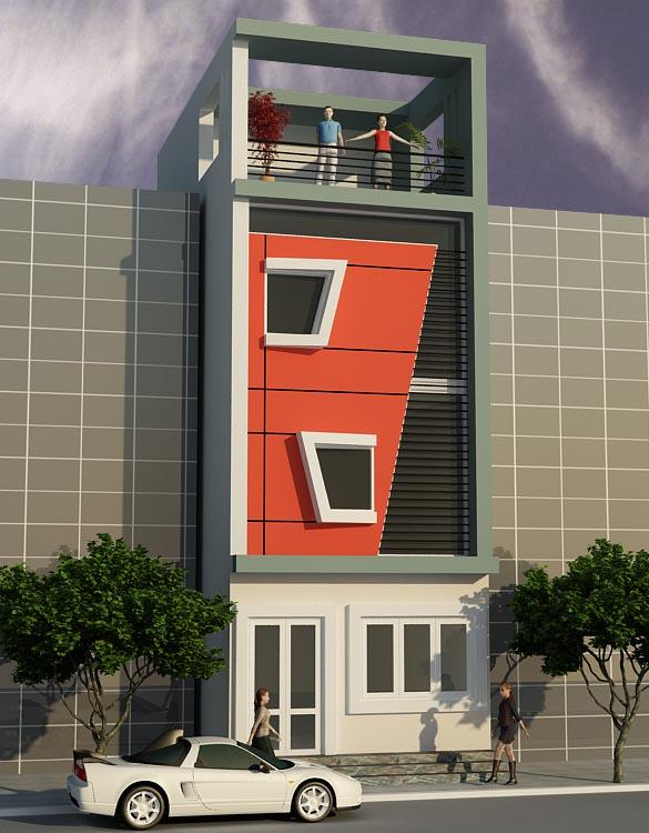 Mẫu thiết kế nhà phố, nhà lô một mặt tiền phong cách hiện đại