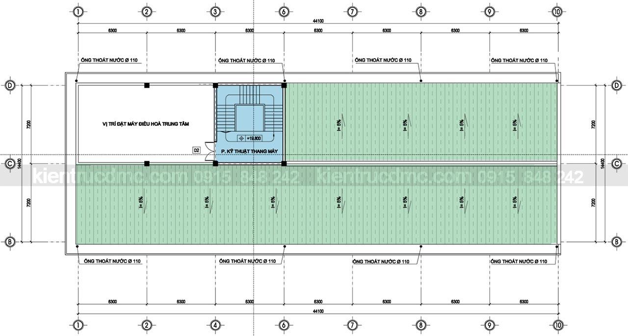 Mặt bằng tầng áp mái - Thiết kế trung tâm thương mại Minh Ngọc