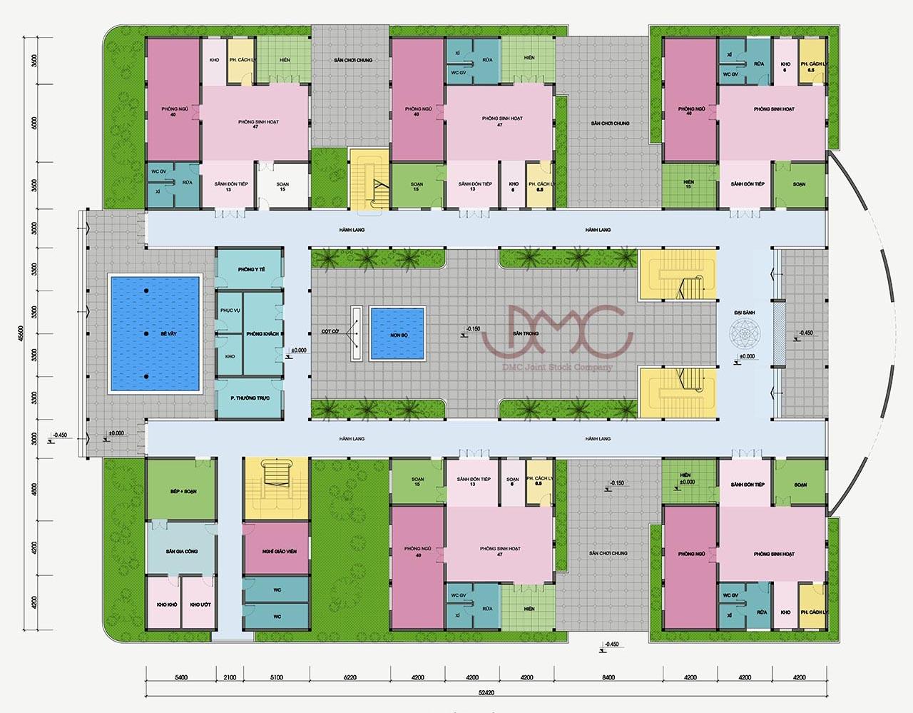 Mặt bằng tầng 1 - Thiết kế trung tâm thương mại Hải Hà