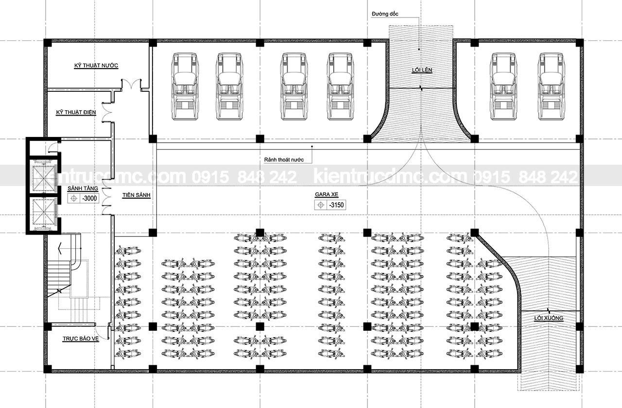 Mặt bằng tầng hầm - Thiết kế trung tâm thương mại Hải Hà