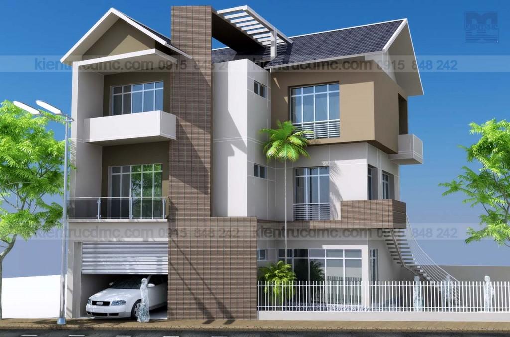 Thiết kế nhà đẹp, Biệt thự mini 3 tầng trên đất hình thang