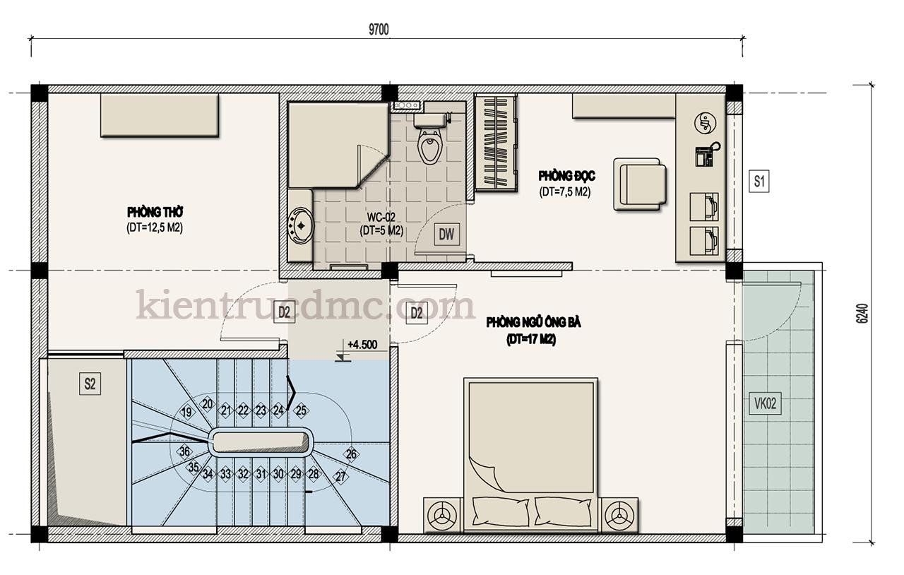Thiết kế nhà đẹp,Thiết kế nhà phố 2,5 tầng mặt tiền 6,8m