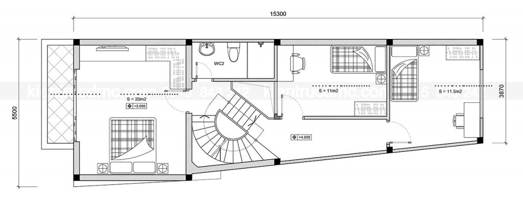 Thiết kế kiến trúc- Thiết kế nhà phố 3 tầng - Quốc Oai - HN