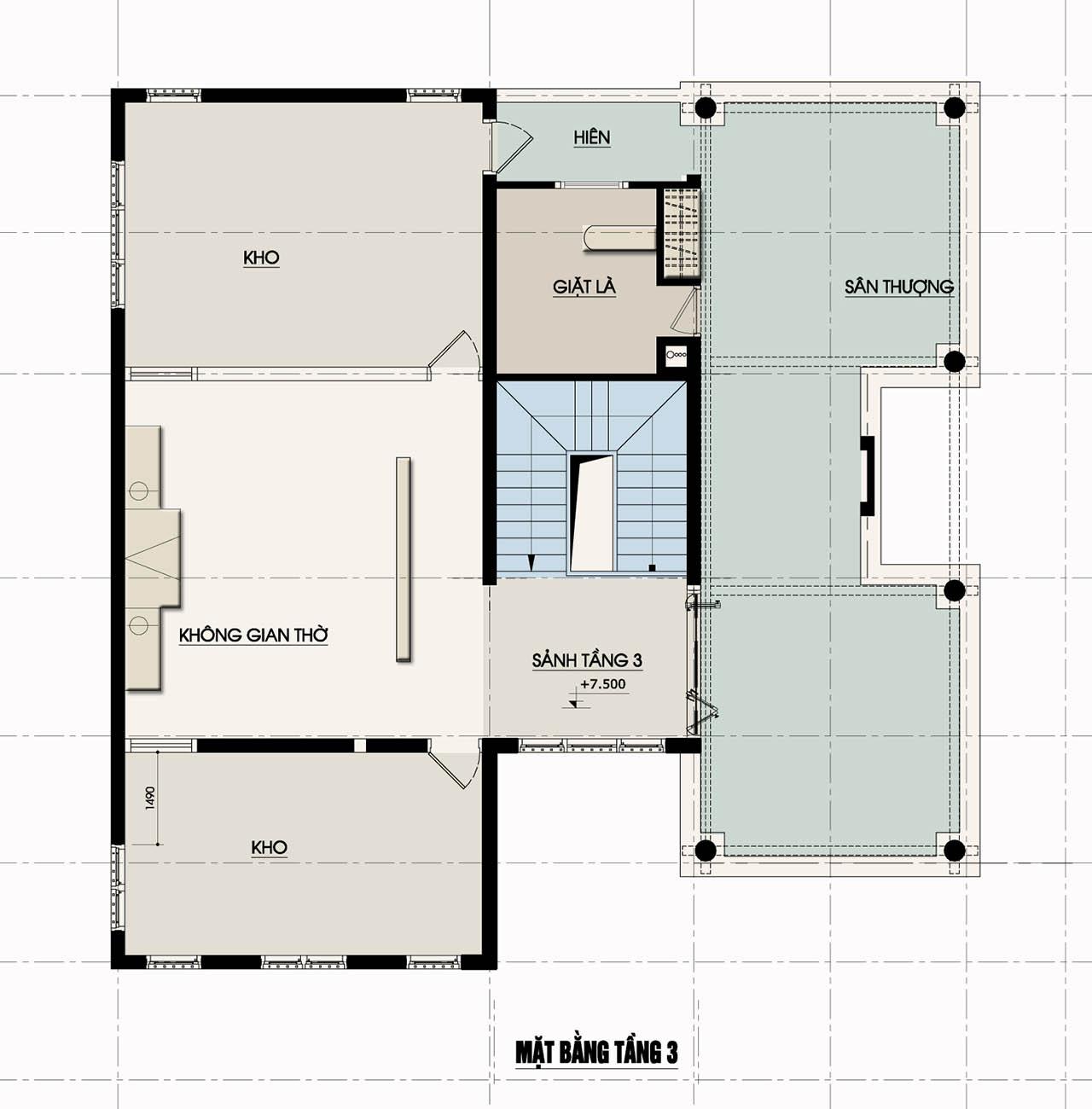 Thiết kế nhà đẹp, Thiết kế nhà phố 2,5 tầng mặt tiền 6,8m
