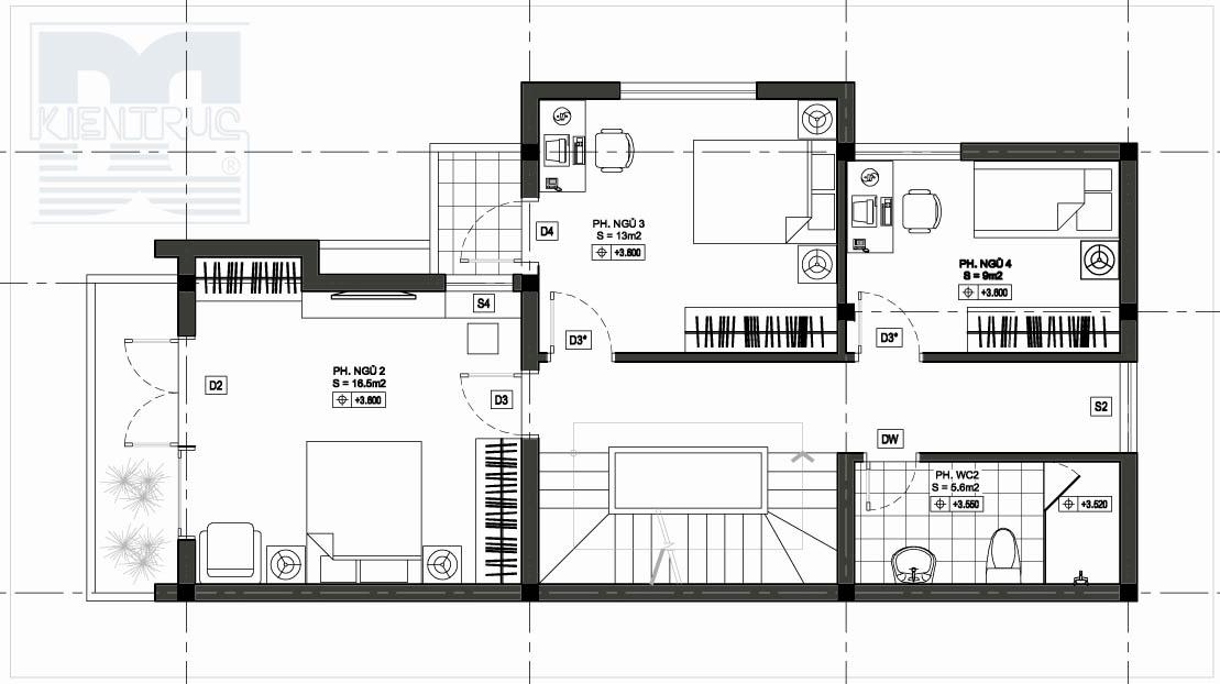 Thiết kế nhà đẹp, Thiết kế nhà phố 2 mặt tiền diện tích 120m2
