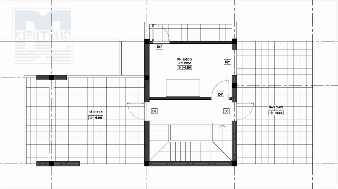 Thiết kế nhà đẹp, thiết kế nhà phố 2 mặt tiền diện tích 120m2 - tầng 3