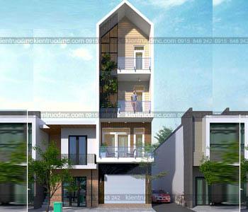 thiết kế nhà phố 4 tầng kết hợp kinh doanh diện tích 63m2