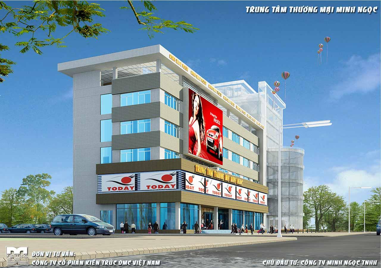 Phối cảnh góc - Thiết kế  trung tâm thương mại Minh Ngọc