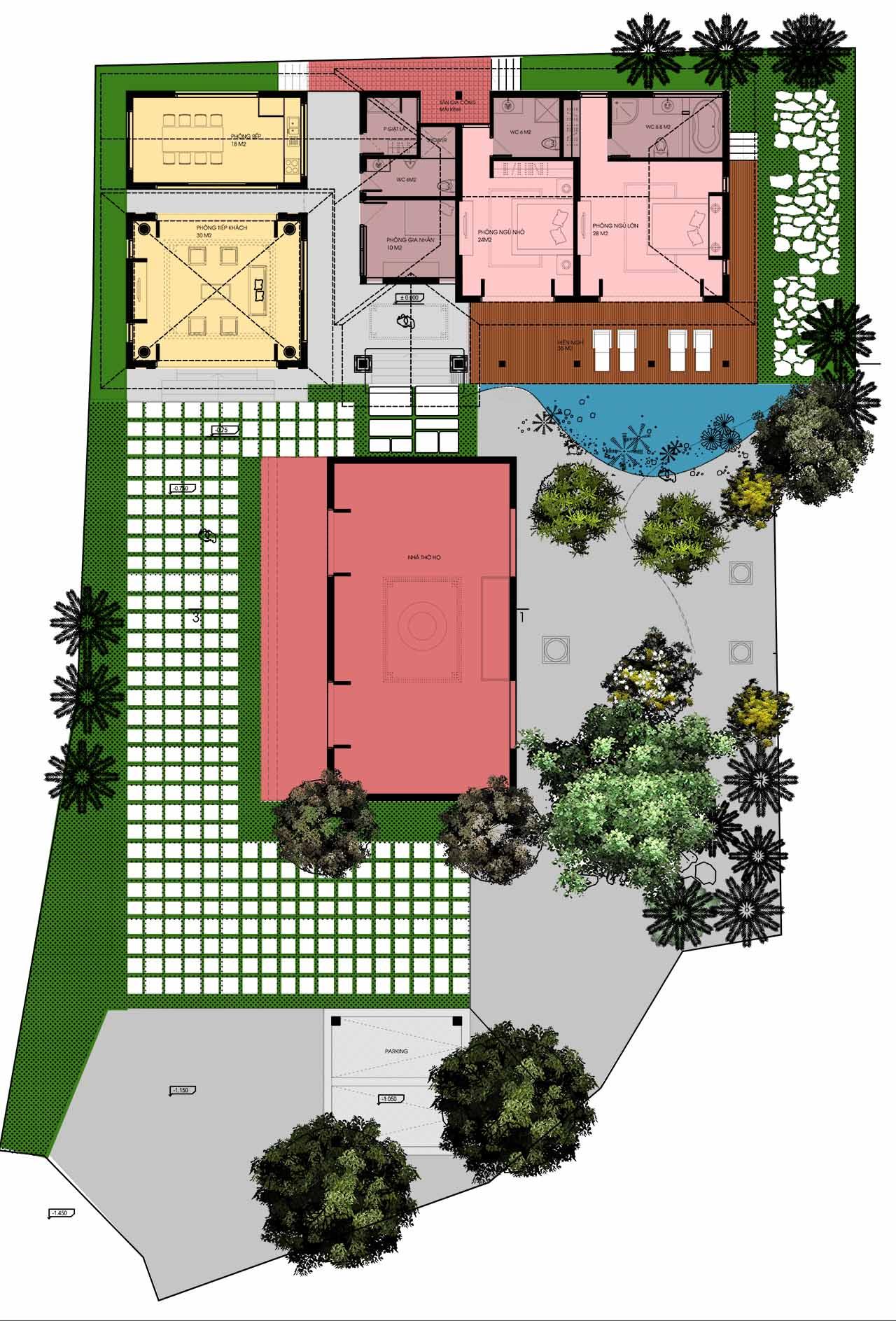 Thiết kế nhà vườn đẹp 1025m2