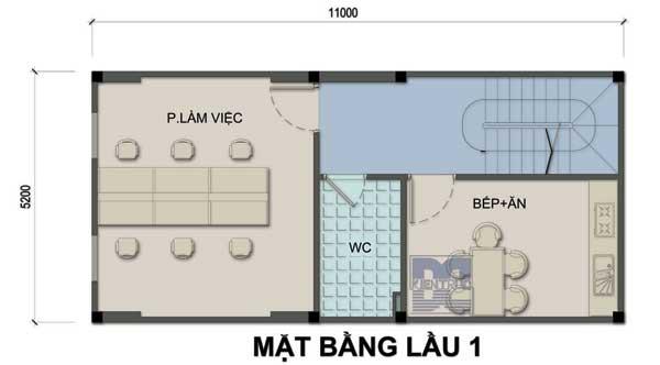 Tư vấn thiết kế nhà ở kết hợp kinh doanh 3 tầng 57m2