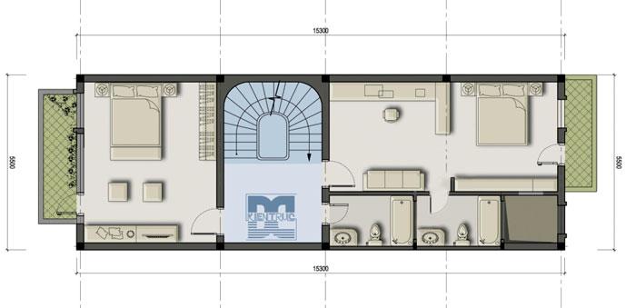Tư vấn thiết kế nhà phố 2 tầng 121m2