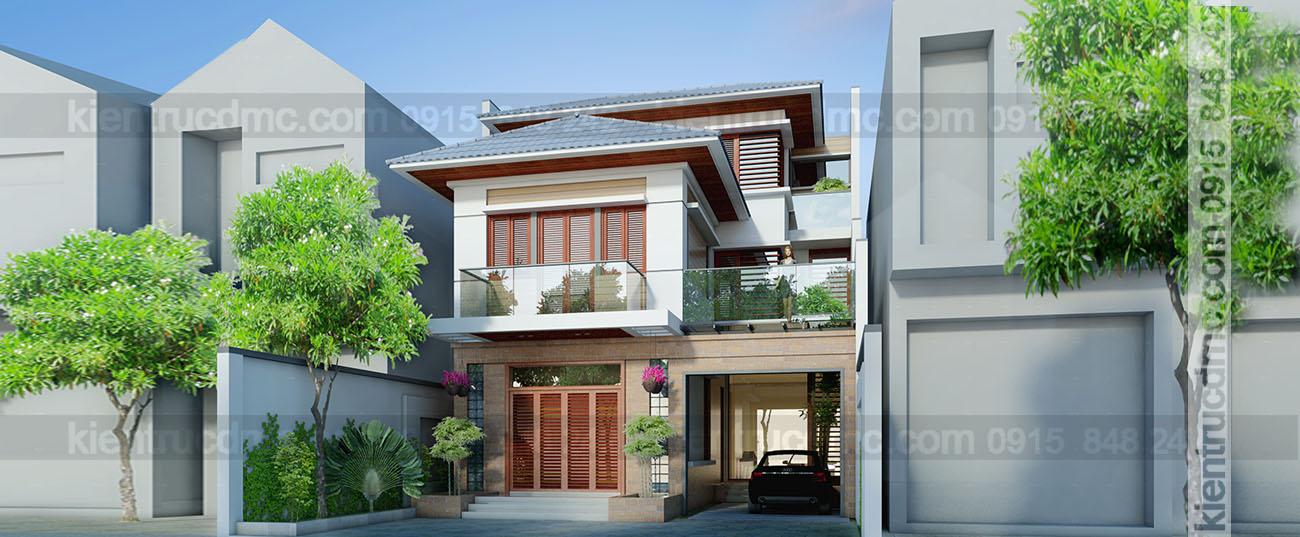 Thiết kế biệt thự mini hưng yên, biệt thự mini 3 tầng, biệt thự phố 10m mặt tiền.
