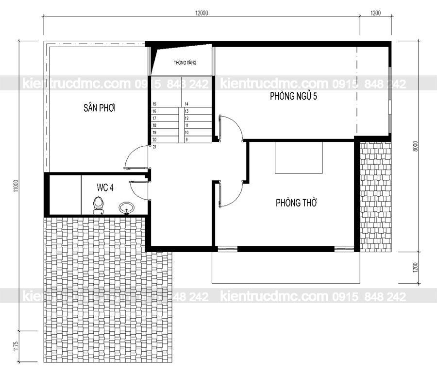 Thiết kế nhà lô phố 2 mặt tiền 3 tầng, thiết kế biệt thự phố, biệt thự mini 3 tầng