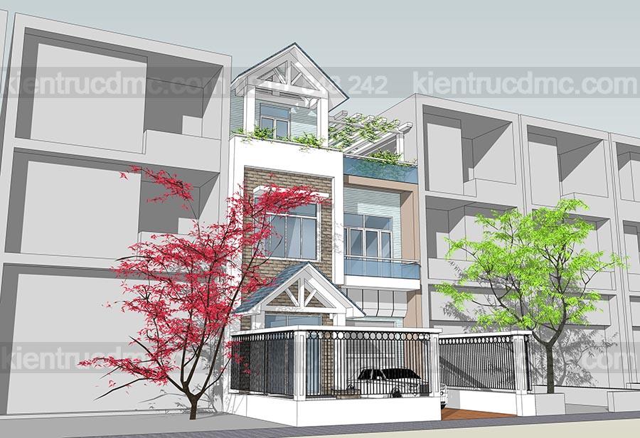 Thiết kế nhà lô phố 3 tầng mặt tiền 7,5m, thiết kế biệt thự phố