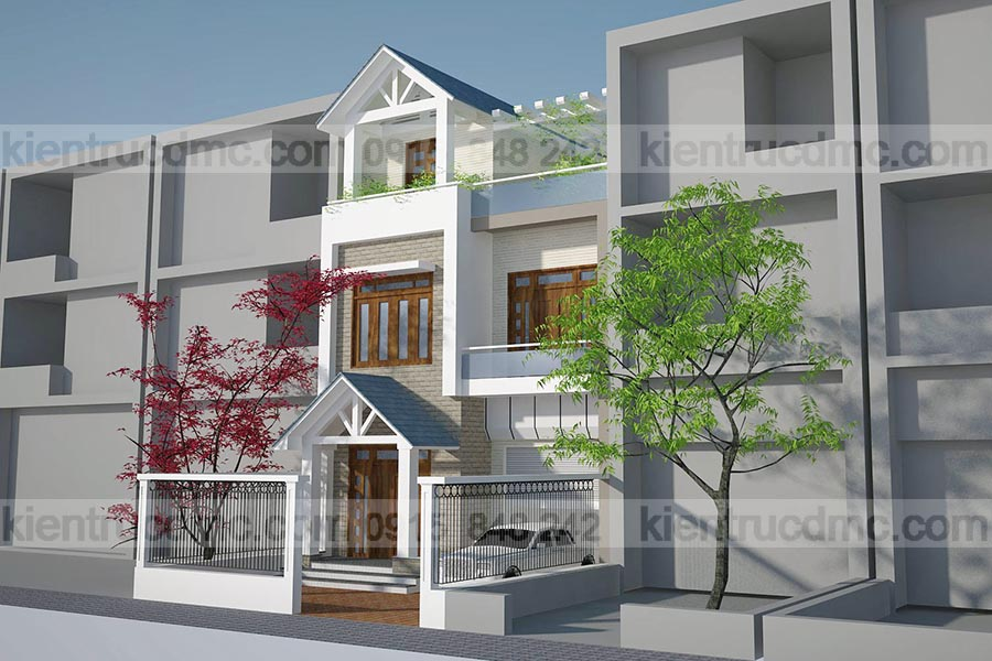 Thiết kế nhà phố đẹp 3 tầng đẹp 119m2