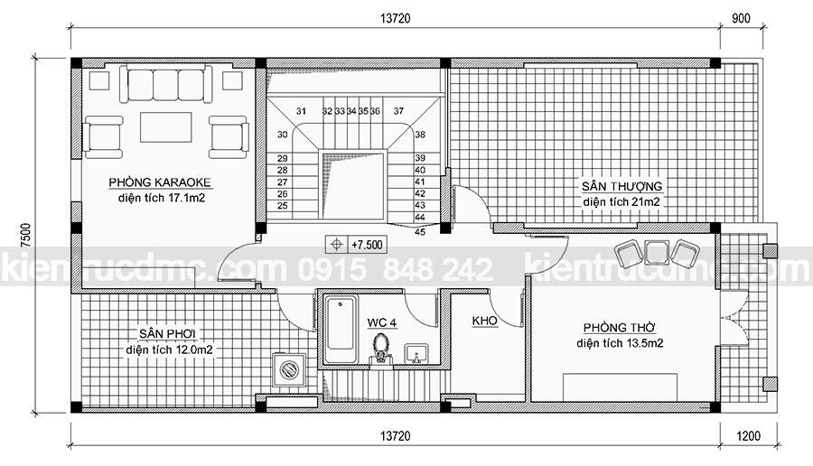 Thiết kế nhà phố 3 tầng đẹp 119m2