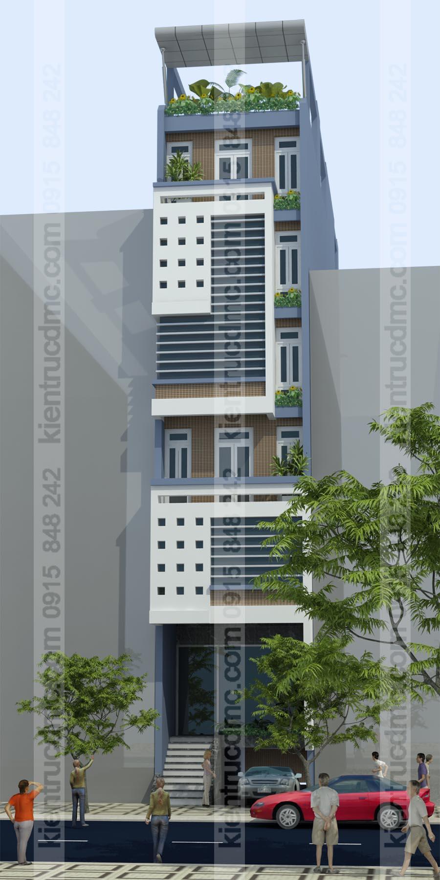 Phối cảnh mặt trước nhà ống hiện đại 7 tầng