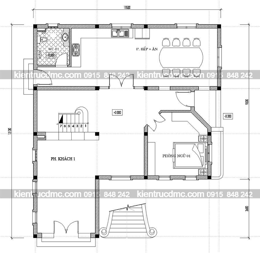Mặt bằng tầng 1 thiết kế nhà vườn biệt thự kiểu Pháp