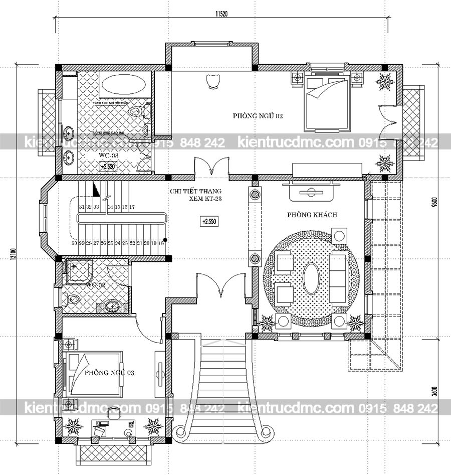 Mặt bằng tầng 2 thiết kế nhà vườn biệt thự kiểu Pháp