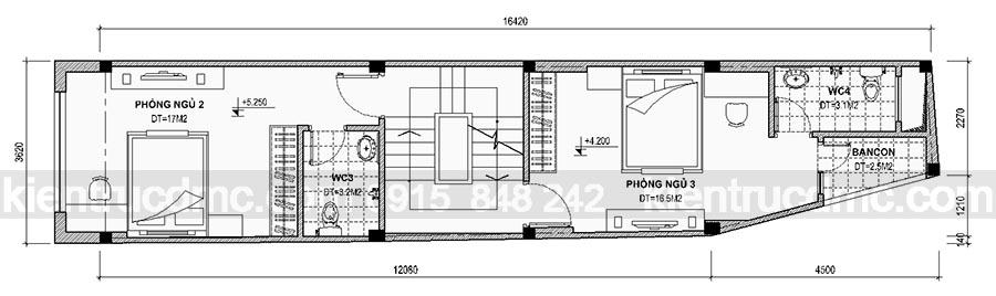 Thiết kế nhà phố 5 tầng mặt tiền 3,62m hiện đại