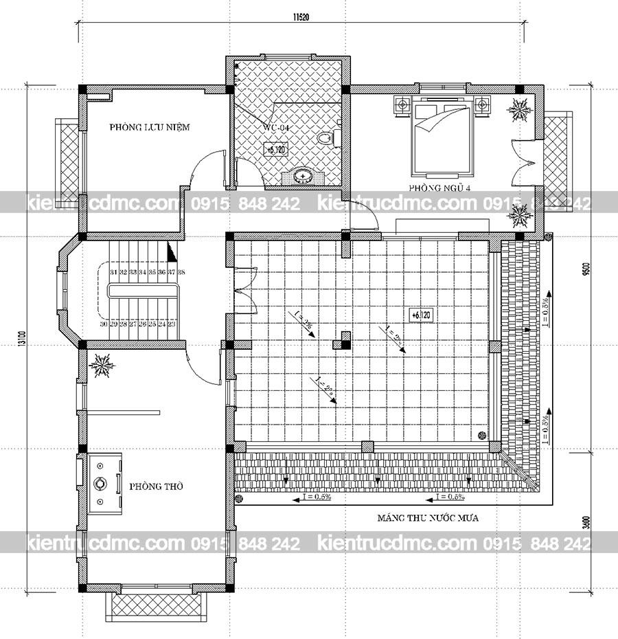 Mặt bằng tầng 3 thiết kế nhà vườn biệt thự kiểu Pháp