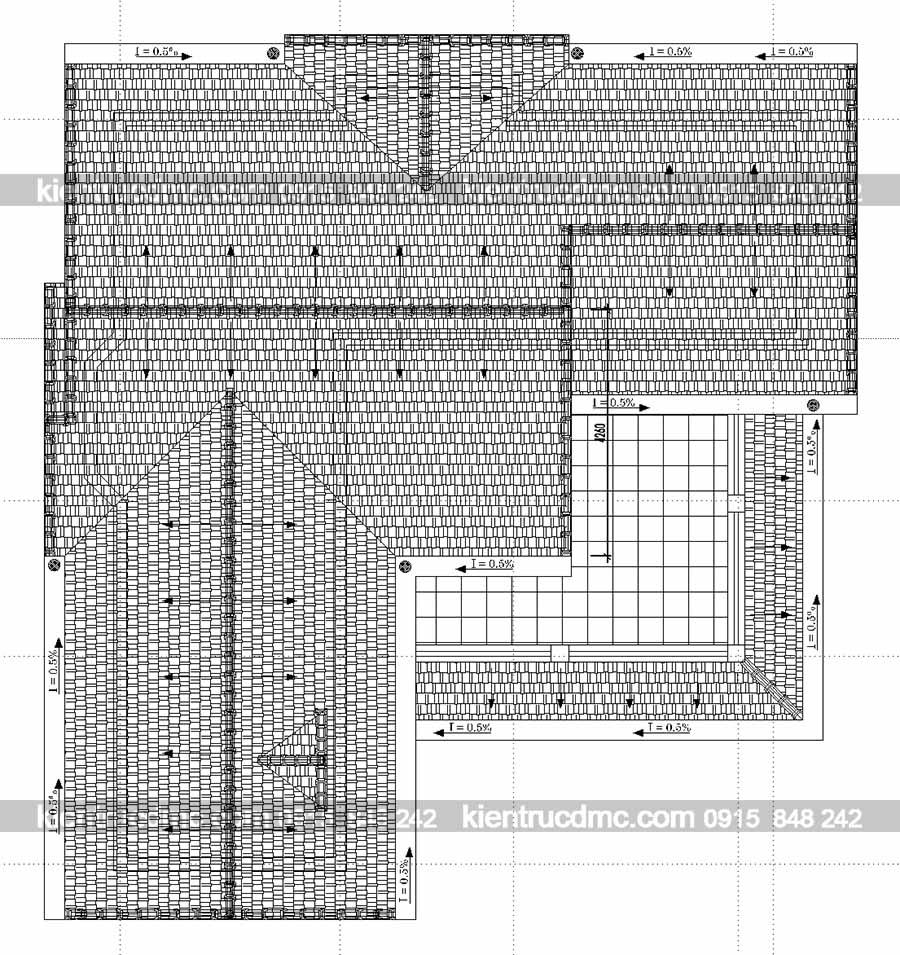 Mặt bằng tầng mái thiết kế nhà vườn biệt thự kiểu Pháp
