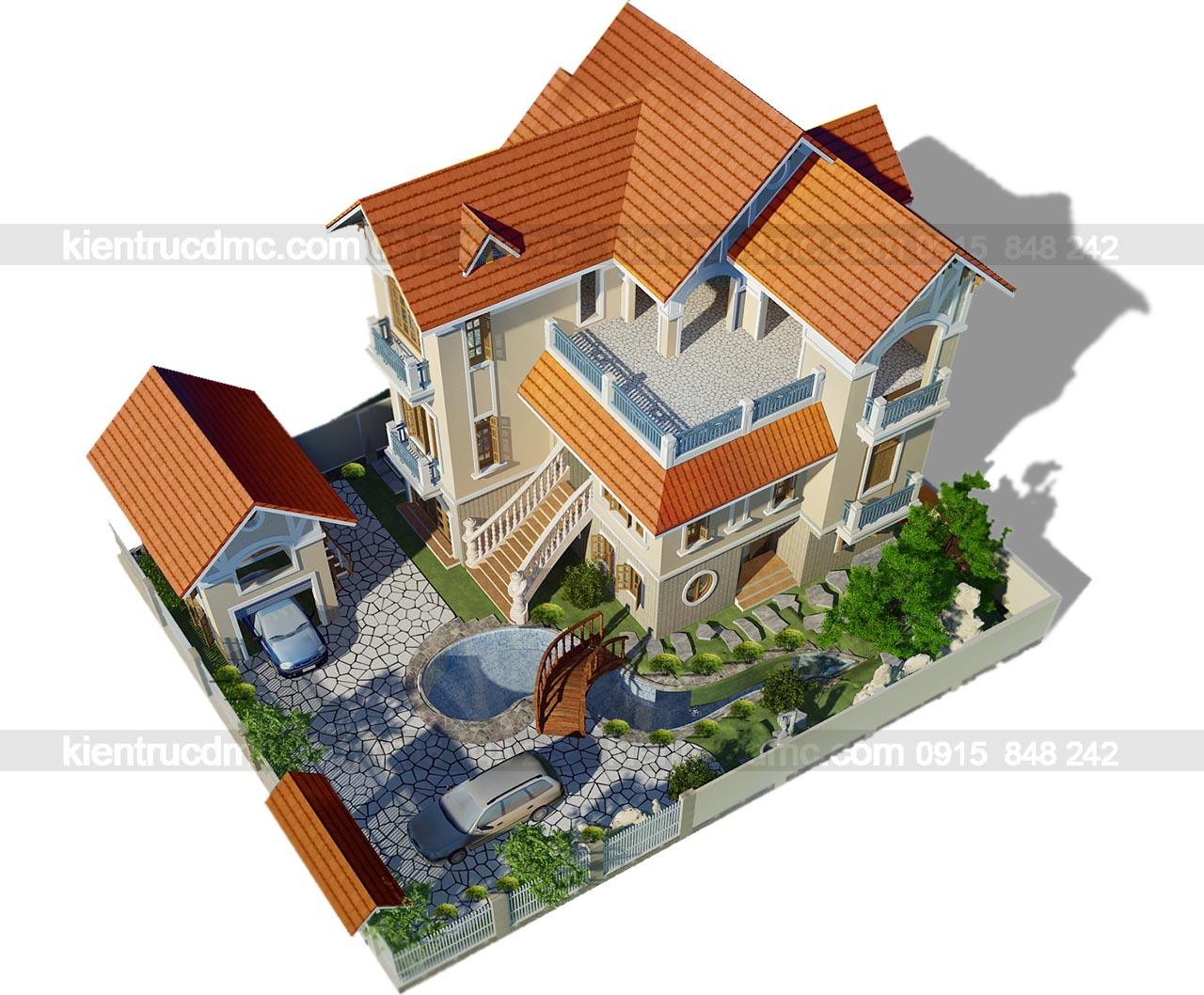 Tổng thể kiến trúc thiết kế nhà vườn biệt thự kiểu Pháp