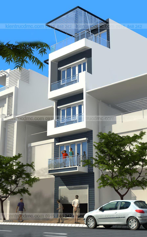 Phối cảnh công trình Thiết kế nhà phố diện tích 56,25m2