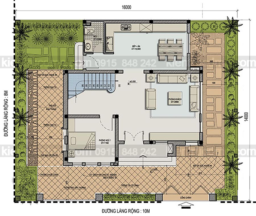 Thiết kế biệt thự 3 tầng phong cách hiện đại thời thượng