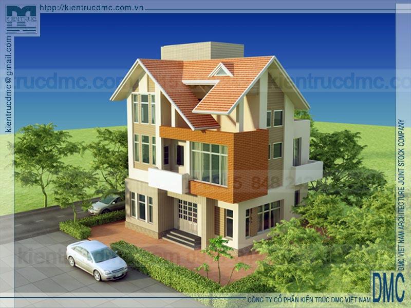 Thiết kế biệt thự 3 tầng phong cách hiện đại  sang trọng