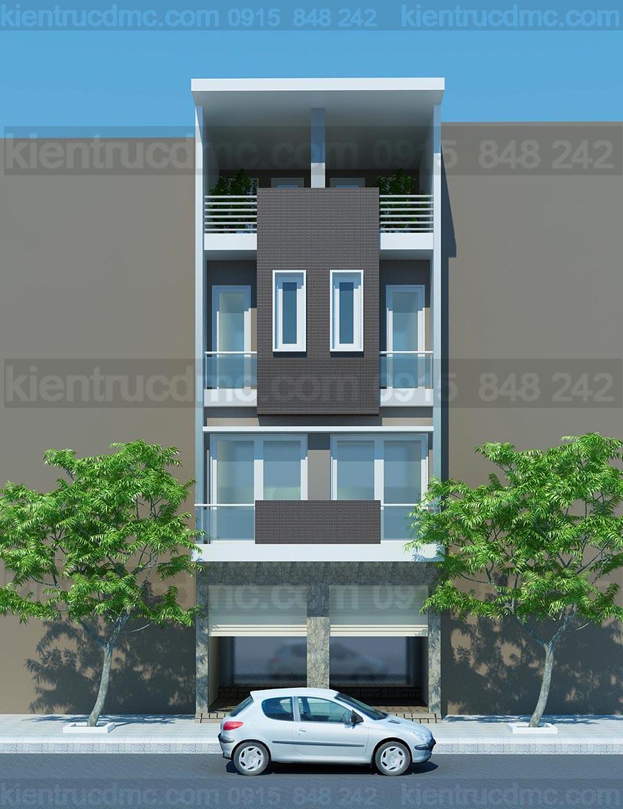 Thiết kế nhà phố 4 tầng 2 ghép 1