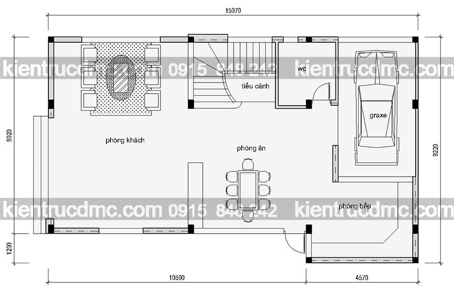 Mặt bằng tầng 1 - Thiết kế nhà vườn hiện đại đẹp phong cách