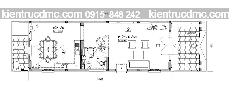 thiết kế nhà phố 4 tầng 93m2 đẹp hiện đại