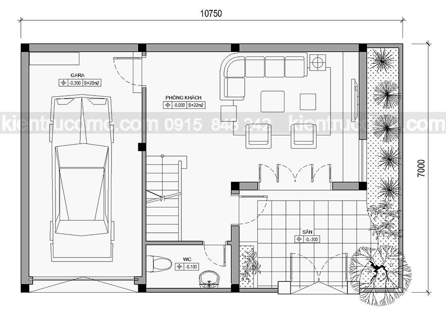 Thiết kế Biệt thự phố 4 tầng phong cách hiện đại.