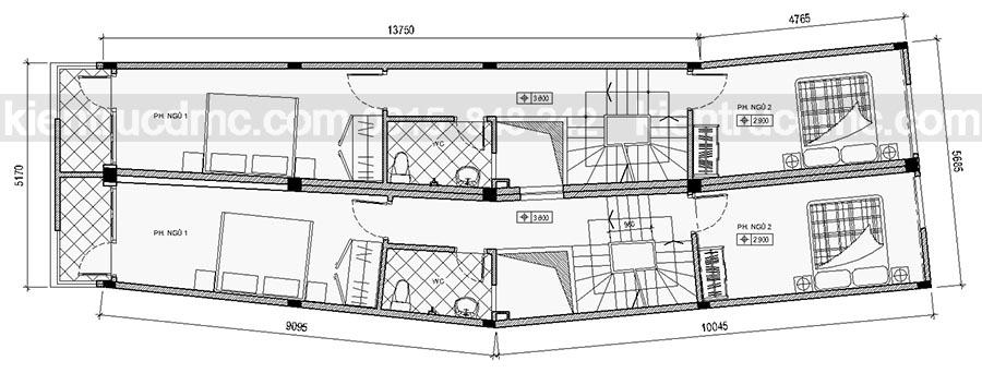 Thiết kế nhà phố diện tích 56,25m2.