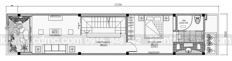 Thiết kế nhà lô phố 4 tầng mặt tiền hẹp.