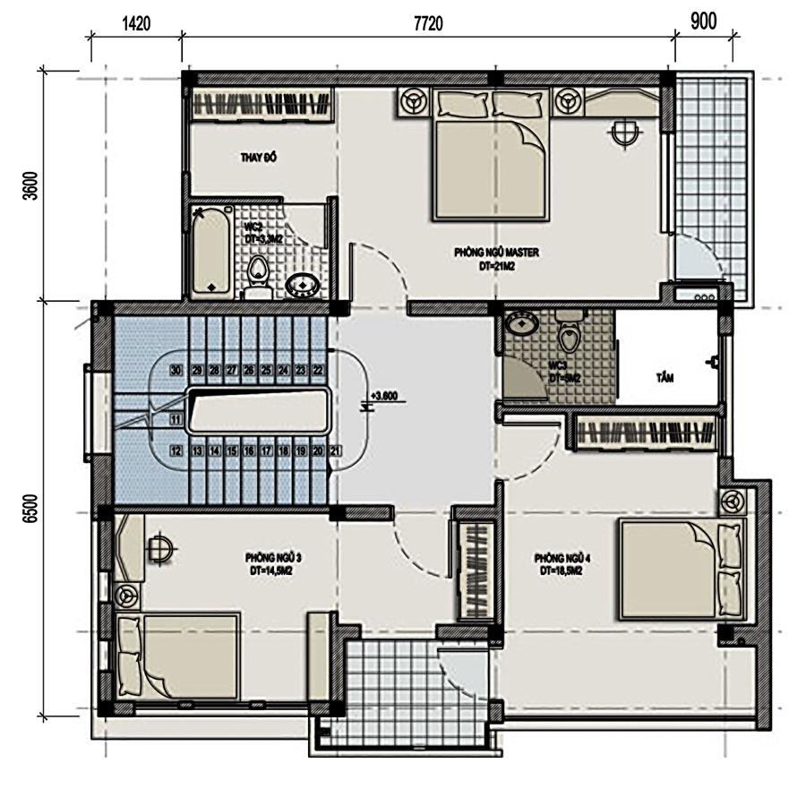 Thiết kế biệt thự 3 tầng phong cách hiện đại phong cách