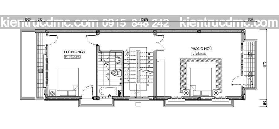 Tư vấn thiết kế nhà phố 4 tầng 93m2 đẹp hiện đại