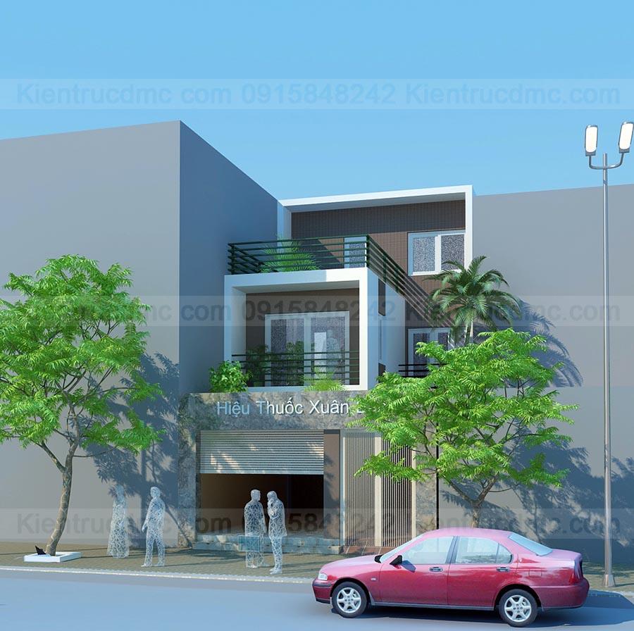 Phối cảnh - Thiết kế nhà phố 3 tầng đẹp kết hợp kinh doanh