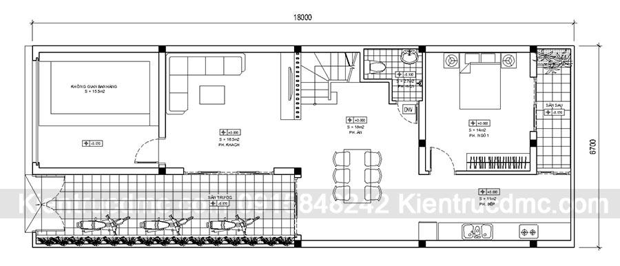Thiết kế nhà phố 3 tầng đẹp kết hợp kinh doanh - Mặt bằng tầng 1